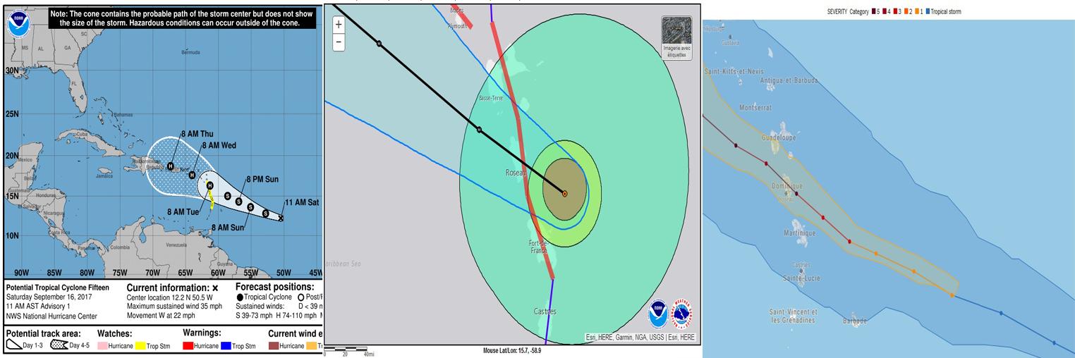 trajectoire Maria (crédit photos NOAA NHC)