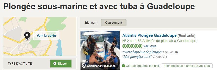 Atlantis Formation - meilleur club de plongée de Guadeloupe en 2016 d'après TripAdvisor