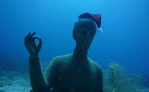 Statue à voir au fond de la Réserve Cousteau